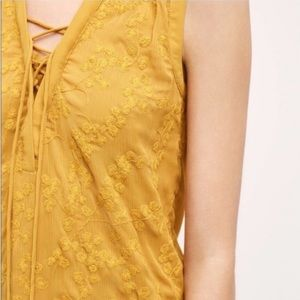 MAEVE Anthropologie embroidered mustard blouse
